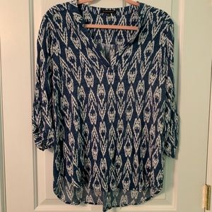 Boutique Ikat Chambray Top Large
